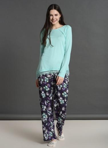 Dagi O Yaka Altı Vual Uzun Kollu Pijama Takımı Yeşil